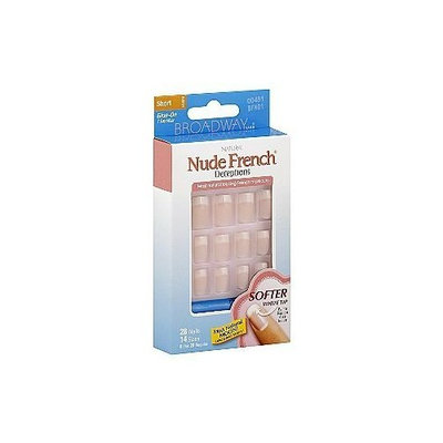 Kiss Broadway Nails Nude French Natural Deceptions Nail Kit, Short Length, Exposed, 28 Count