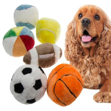 Mammoth Pet Products DMH70016PDQ Plush Sport Balls 36 Pieces Display Assorted