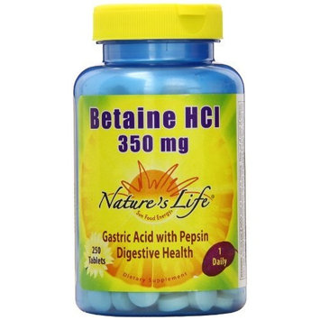Nature's Life Betaine HCL , 350 Mg, 250 Tablets