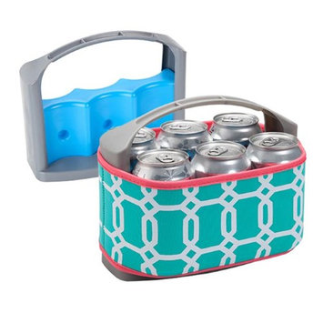 Occasionally Made Six Pack Can Cooler with Insulated Cover Turquoise