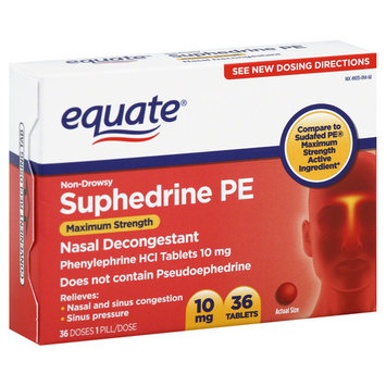Equate Suphedrine PE, Non-Drowsy, Maximum Strength, 10 mg, Tablets - 36 tablets