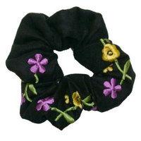 Smoothies Embroidered Flower Scrunchie-Black 00694
