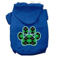 Mirage Pet Products Argyle Paw Green Screen Print Pet Hoodies Blue Size XS (8)