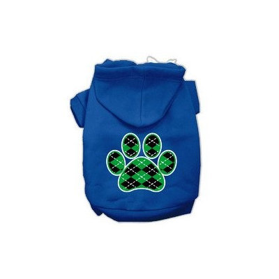 Mirage Pet Products Argyle Paw Green Screen Print Pet Hoodies Blue Size Sm (10)