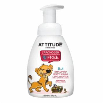 Attitude Little Ones 3 in 1 Shampoo Body Wash Conditioner, Pomegranate, 10 fl oz