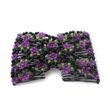 Ids Purple Stretch Flower Bow Glass Bead Hair Head Comb Cuff Double Clip Gift
