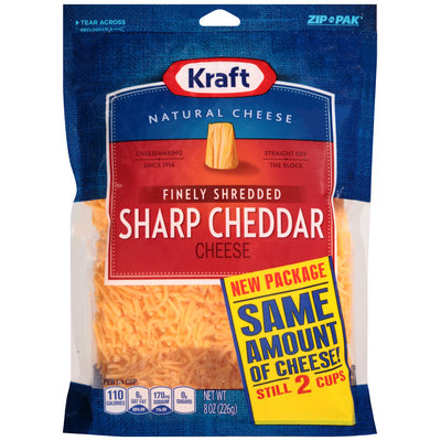 Kraft Finely Shredded Sharp Cheddar Cheese 8 oz. ZIP-PAK®