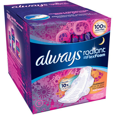 Infinity Always Radiant Overnight with wings scented Pads 11 count