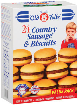 Purnell's Old Folks 24 Ct 12 Twin Packs Country Sausage & Biscuits 36 Oz Box