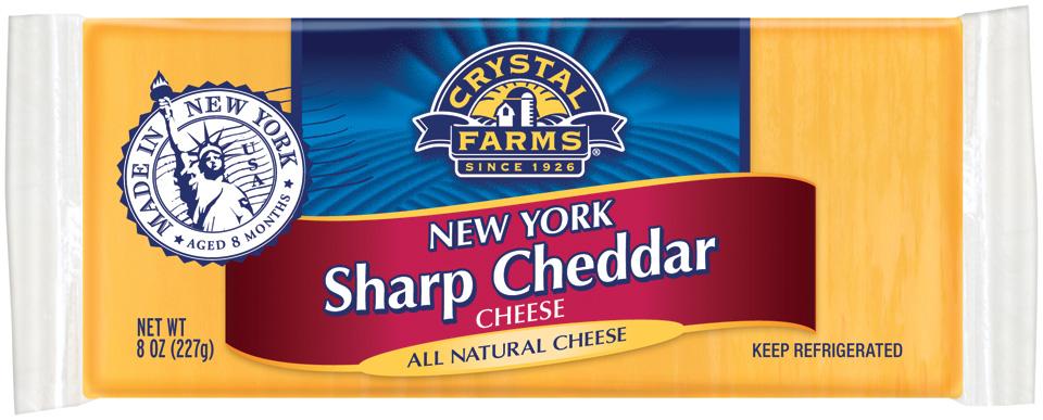 Crystal Farms Cheddar New York Sharp Cheese 8 Oz Brick