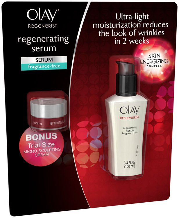 Regenerist Olay Regenerist Regenerating Face Serum Fragrance-Free 3.4oz bottle with 0.17oz Trial Moisturizer