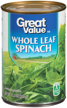 Great Value™ Whole Leaf Spinach 13.5 oz. Can