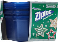 Ziploc® One Press Seal Holiday Blue Medium Square Containers 3 ct Sleeve