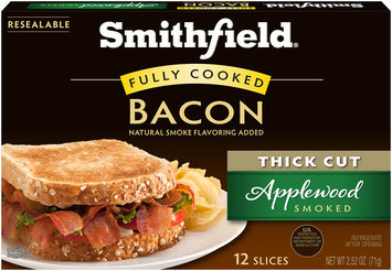 Smithfield® Thick Cut Applewood Smoked Fully Cooked Bacon 2.52 oz. Box