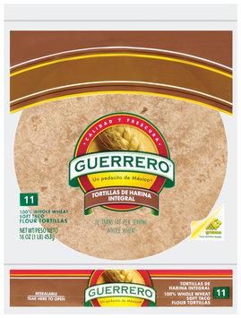 Guerrero 100% Whole Wheat De Harina Inegral 11 Ct Tortillas 16 Oz Bag