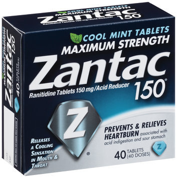 Zantac 150® Cool Mint Maximum Strength 150mg Acid Reducer Tablets 40 ct Box