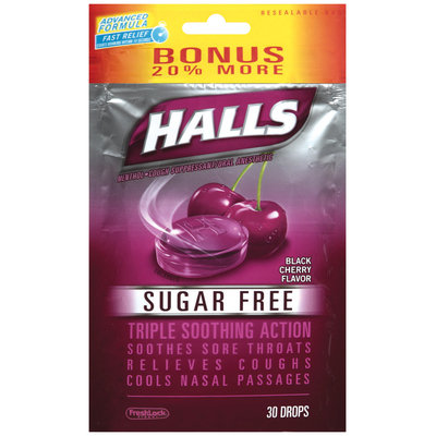 Halls® Sugar Free Black Cherry Flavor Cough Suppressant/Oral Anesthetic Menthol Drops 30 ct Bag