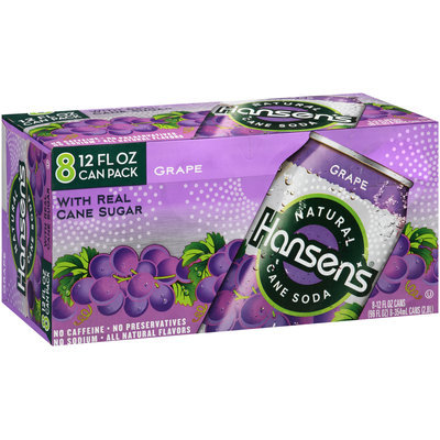 Hansen's Grape Natural Cane Soda 8-12 fl. oz. Cans