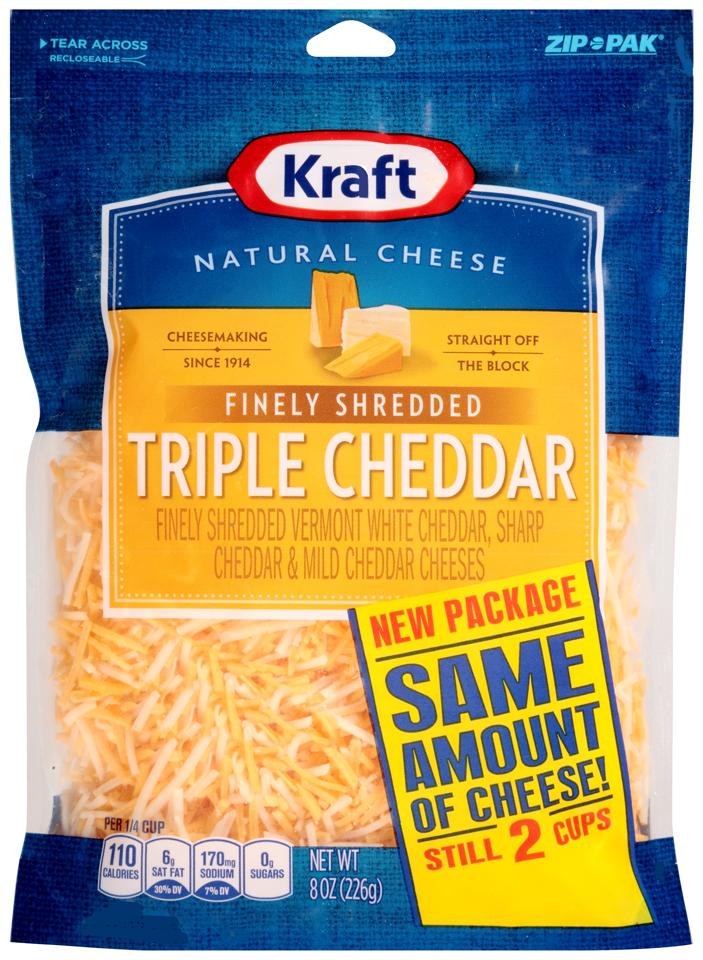 Kraft Finely Shredded Triple Cheddar Cheese 8 oz. ZIP-PAK®