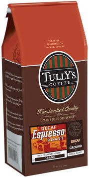 Tully's Coffee Decaf Grand Ground Dark Roast Espresso Roast 12 Oz Stand Up Bag
