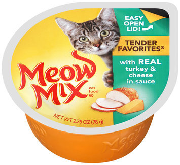 Meow Mix Tender Favorites with Real Turkey & Cheese in Sauce Wet Cat Food, 2.75-Ounce Cup