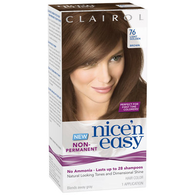 Clairol Nice 'n Easy Non-Permanent 76 Light Golden Brown Hair Color Kit