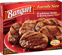 Banquet® 6 Salisbury Steaks & Brown Gravy 27 oz. Box