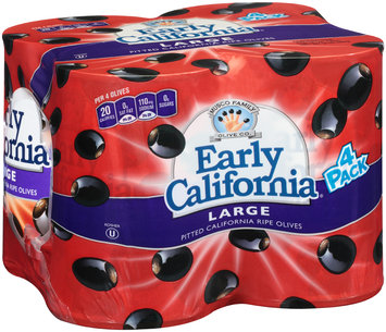 Early California® Large Pitted Ripe Black Olives 4-6 oz. Cans