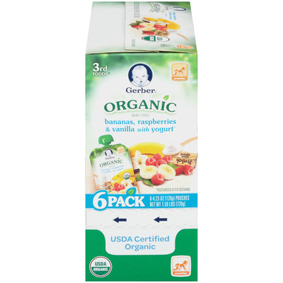 Gerber® Organic 3rd Foods® Bananas, Raspberries & Vanilla with Yogurt Baby Food 6-4.23 oz. Pouches