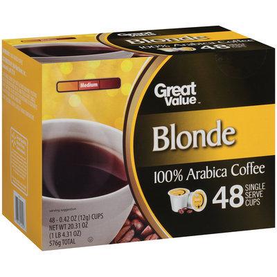 Great Value™ Blonde Medium 100% Arabica Coffee 48-0.42 oz. Cups