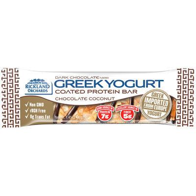 Rickland Orchards™ Dark Chocolate Flavored Greek Yogurt Coated Chocolate Coconut Protein Bar 1.41 oz. Bar