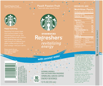 Starbucks® Refreshers® Peach Passion Fruit with Coconut Water Energy Beverage