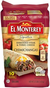 El Montery® Signature Shredded Steak & Three-Cheese Chimichangas 10 ct Bag