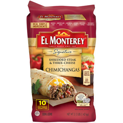 El Montery® Signature Shredded Steak & Three-Cheese Chimichangas 10 ct Bag