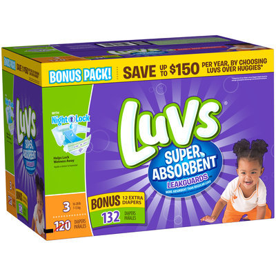 Luvs Super Absorbent Leakguards Diapers Size 3 Bonus Pack 132 count