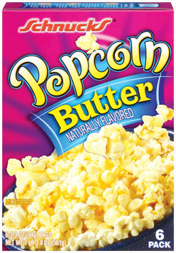 Schnucks Microwave Butter 3.3 Oz Bags Popcorn 6 Pk Box