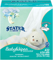 Stater Bros. Unscented 6-72 Ct Refills Baby Wipes 432 Ct Box