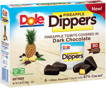 Dole® Pineapple Dippers Pineapple Tidbits Covered in Dark Chocolate 6-1.06 oz. Pouches