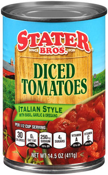 Stater Bros® Italian Style Diced Tomatoes with Basil, Garlic & Oregano 14.5 oz. Can