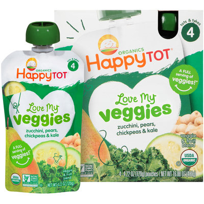 Happy Tot® Organics Love My Veggies Zucchini, Pears, Chickpeas & Kale Veggie & Fruit Blend 4-4.22 oz. Pouches