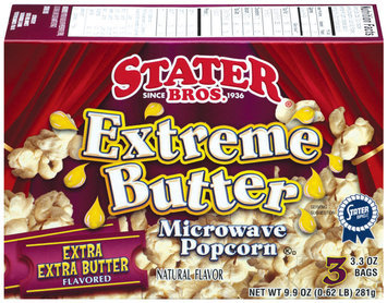 Stater Bros. Extreme Butter Extra Extra Butter Flavored 3.3 Oz Bags Microwave Popcorn 3 Ct Box