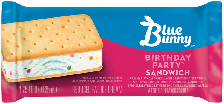 Blue Bunny Birthday Party Ice Cream Sandwich 425 fl oz Wrapper