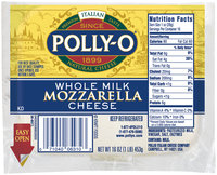 Polly-O Mozzarella Whole Milk  Cheese 16 Oz Bag