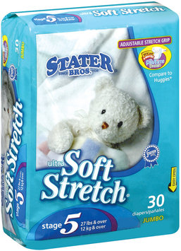 Stater Bros. Ultra Soft Stretch Stage 5 Jumbo 27 Lbs & Over Diapers 30 Ct Package