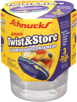 Schnucks Reusable Twist & Store Leak Resistant Pint Size Containers 3 Ct Sleeve