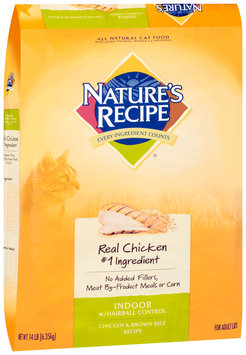 Nature's Recipe® Indoor with Hairball Control Chicken & Brown Rice Recipe Cat Food 14 lb. Bag