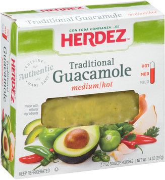 Herdez® Traditional Medium/Hot Guacamole 2-7 oz Squeeze Pouches