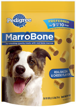 Pedigree Marrobone Real Bacon & Cheese Flavor Dog Care & Treats 24 Oz Stand Up Bag