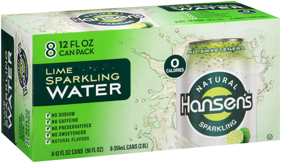 Hansen's Lime Natural Sparkling Water 8-12 fl. oz. Cans