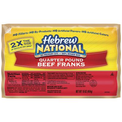 Hebrew National Beef Quarter Pound 4 Ct Franks 16 Oz Pack